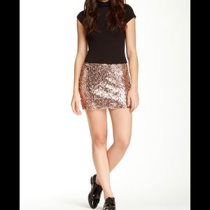 Urban Outfitters Rose Gold Sequin Skirt